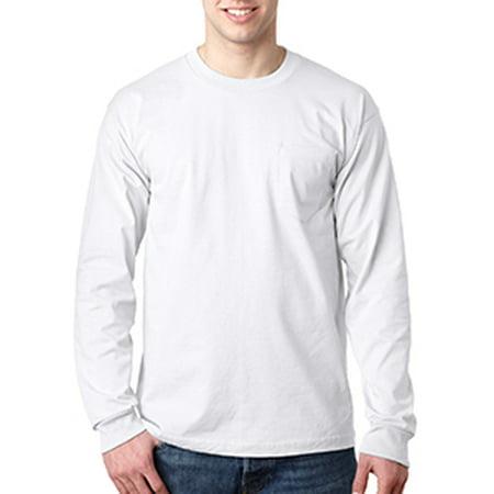 - Bayside Adult 6.1 oz., 100% Cotton Long Sleeve Pocket T-Shirt