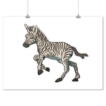 Carbon Lantern - Zebra - Soft Cartoon - Lantern Press Artwork (9x12 Art Print, Wall Decor Travel Poster)