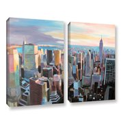 ArtWall New York City Skyline In Sunlight by Marcus/Martina Bleichner 2 Piece Painting Print on Wrapped Canvas Set