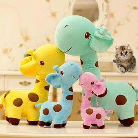 Cute Cartoon Giraffe Shape Embroidery Dyeing Plush Toy for Kids Girlfriend Pink (Cute Giraffe)