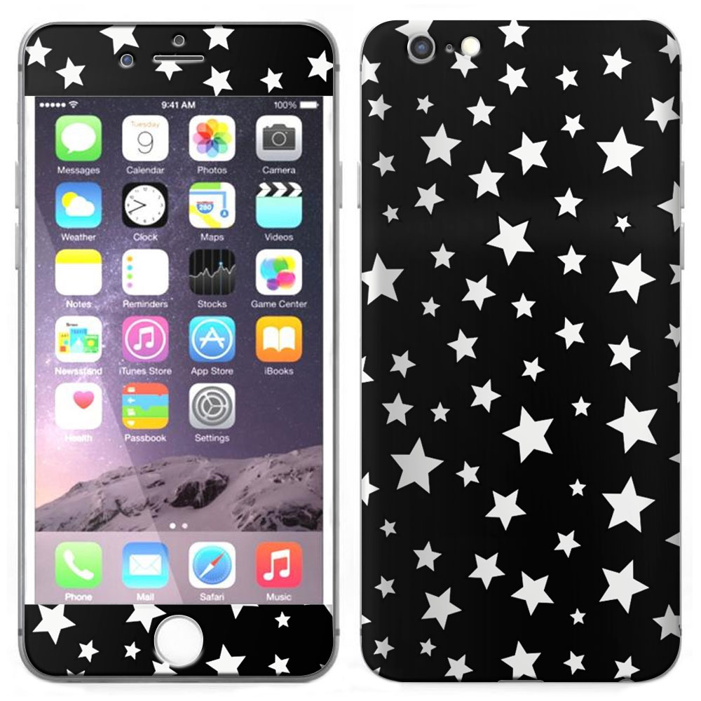 SKIN DECAL FOR Apple iPhone 6 Plus - Silver Stars on Black DECAL, NOT A CASE