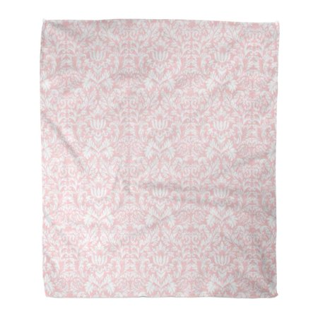 ASHLEIGH Semtomn Decorative Throw Blanket 50x60 Inches Brocade Pastel Pink White Damask Chic Shabby Abstract Antique Warm Flannel Soft Blanket for Couch Sofa Bed ()