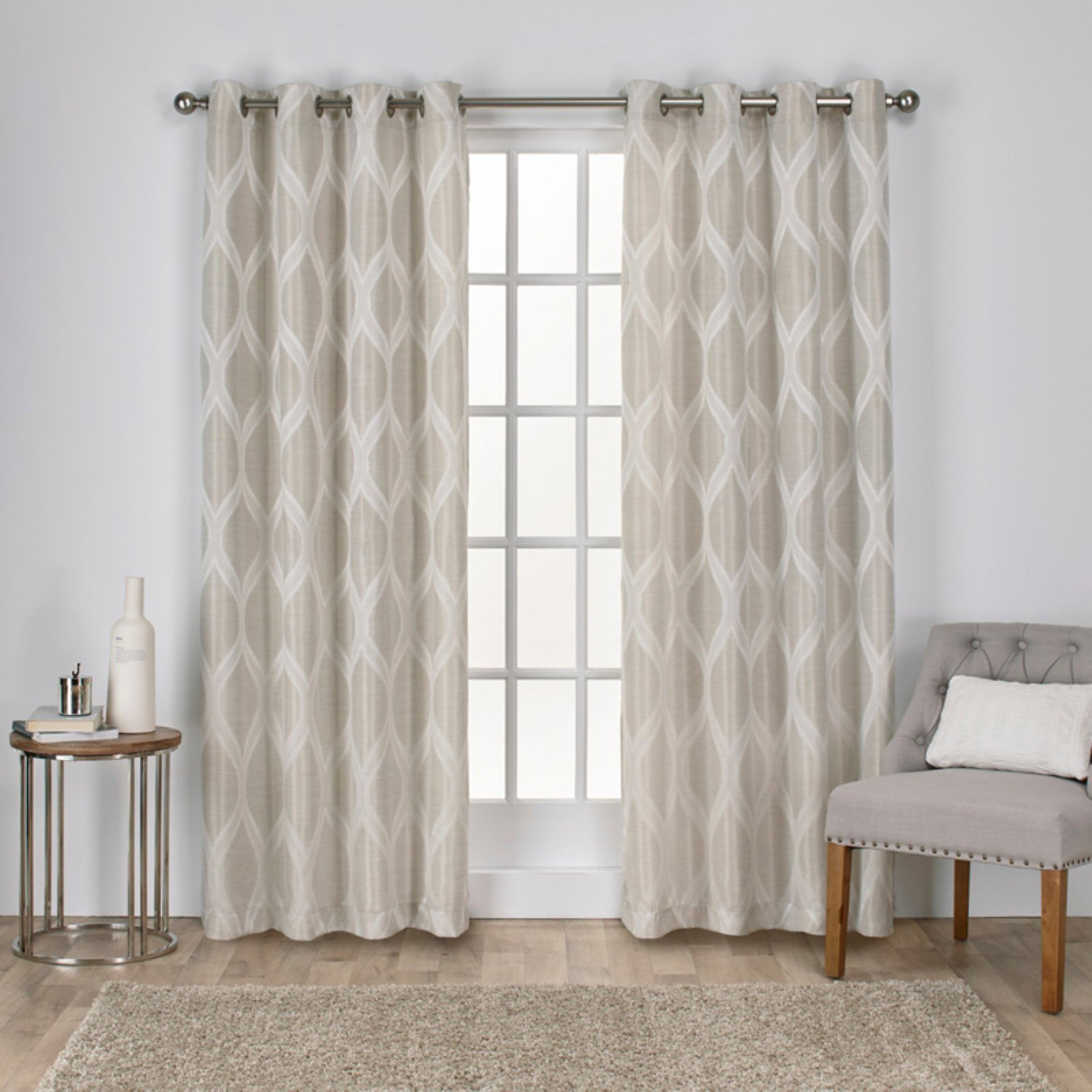 Exclusive Home Montrose Ogee Geometric Textured Linen Jacquard Grommet Top Window Curtain... by Exclusive Home