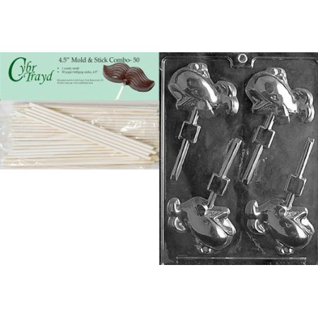 Cybrtrayd 45St50-N020 Whale Lolly Nautical Chocolate Candy Mold with 50-Pack