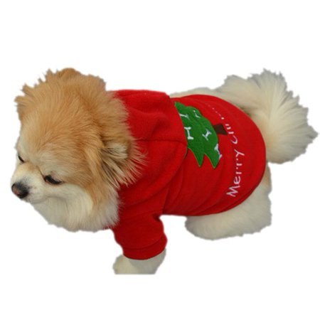 Christmas Pet Puppy Dog Clothes Santa Claus Costume Outwear Thick Coat Apparel L