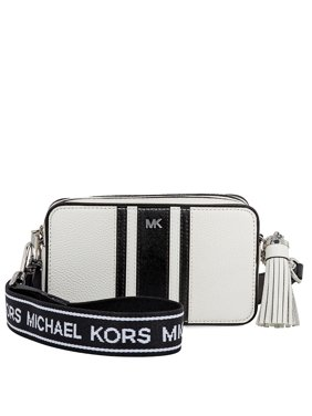 2cb6ce6aa4fcaa Product Image Michael Kors Small Tri-Color Logo Leather Camera Bag- Optic  White/Black