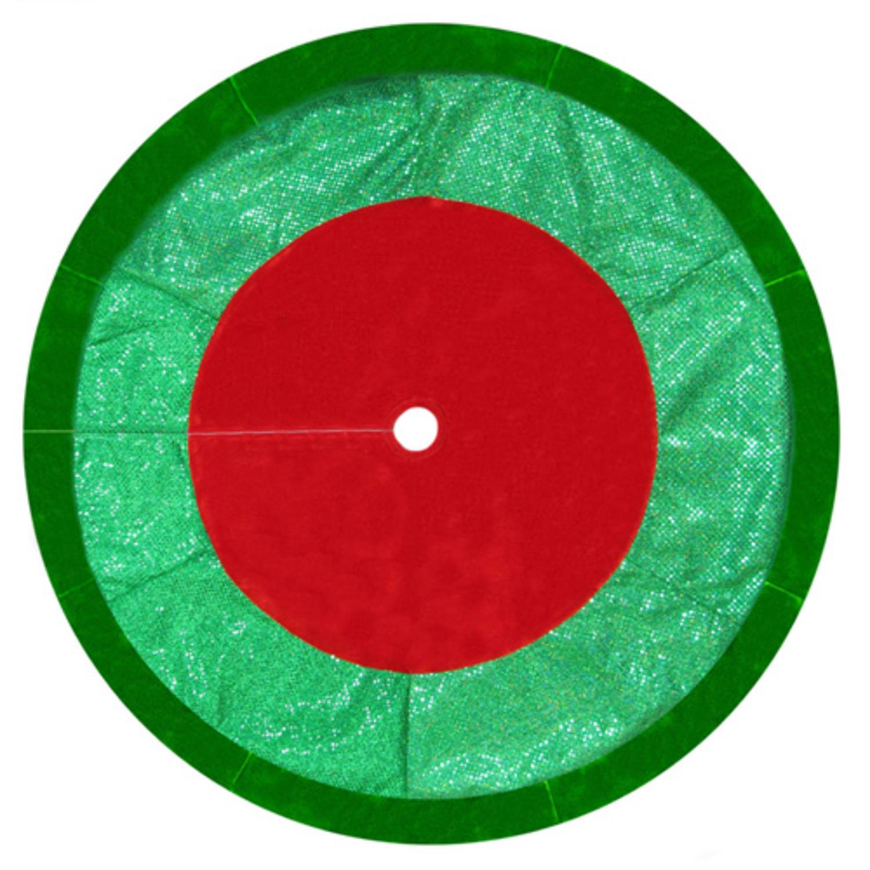 "48"" Red and Green Velveteen Christmas Tree Skirt with Hologram Sequins Border"