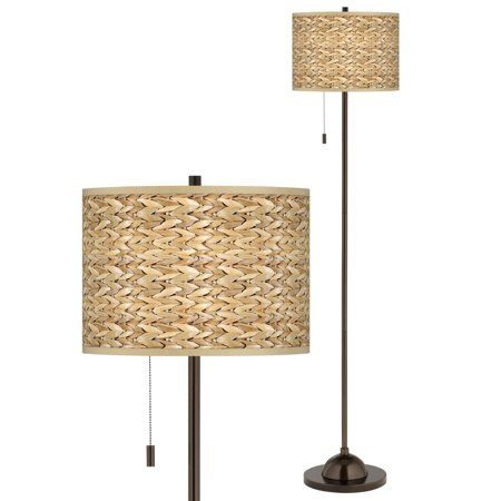 Seagrass Print Pattern Giclee Glow Bronze Club Floor Lamp Petite Club Floor Lamp