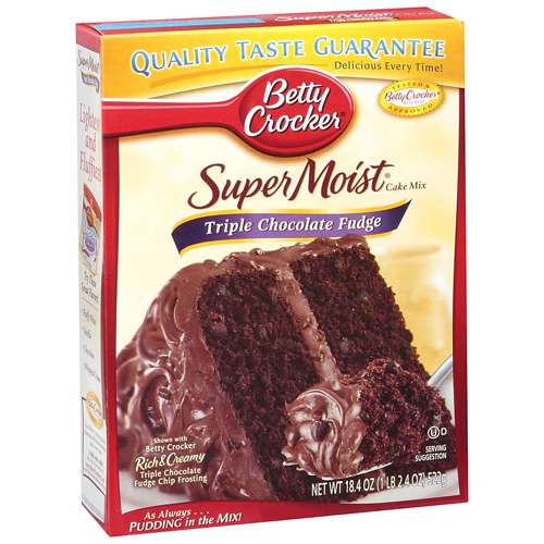 Betty Crocker Super Moist Triple Chocolate Fudge Cake Mix, 18.4 oz