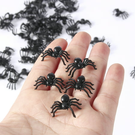 200Pcs 2cm Scary Plastic Spiders Small Fake Spider Joke Toys for Prank - Halloween Weather Jokes