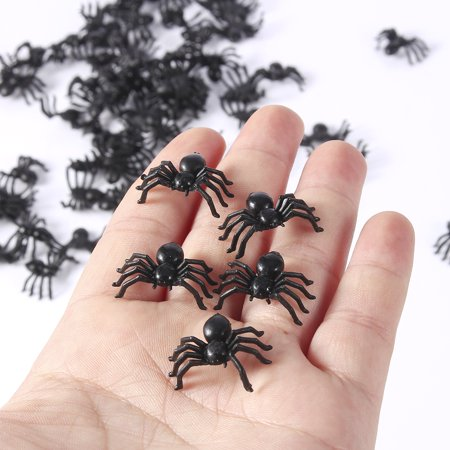 Halloween Plastic Spiders (200Pcs 2cm Scary Plastic Spiders Small Fake Spider Joke Toys for Prank)