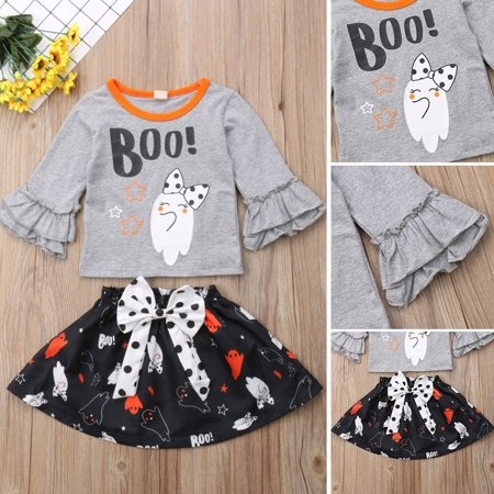 Newborn Infant Baby Girl Halloween Ghost T-Shirt Tops Bowknot Skirt Party Dress Outfits Clothes - Top Baby Games Halloween