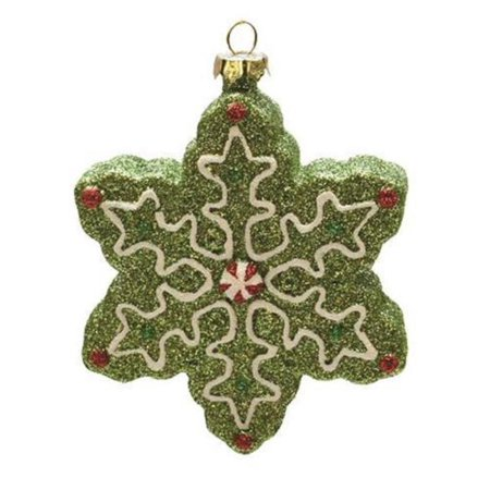 "4"" Merry & Bright Green, White and Red Glitter Shatterproof Snowflake Christmas Ornament - image 1 of 1"