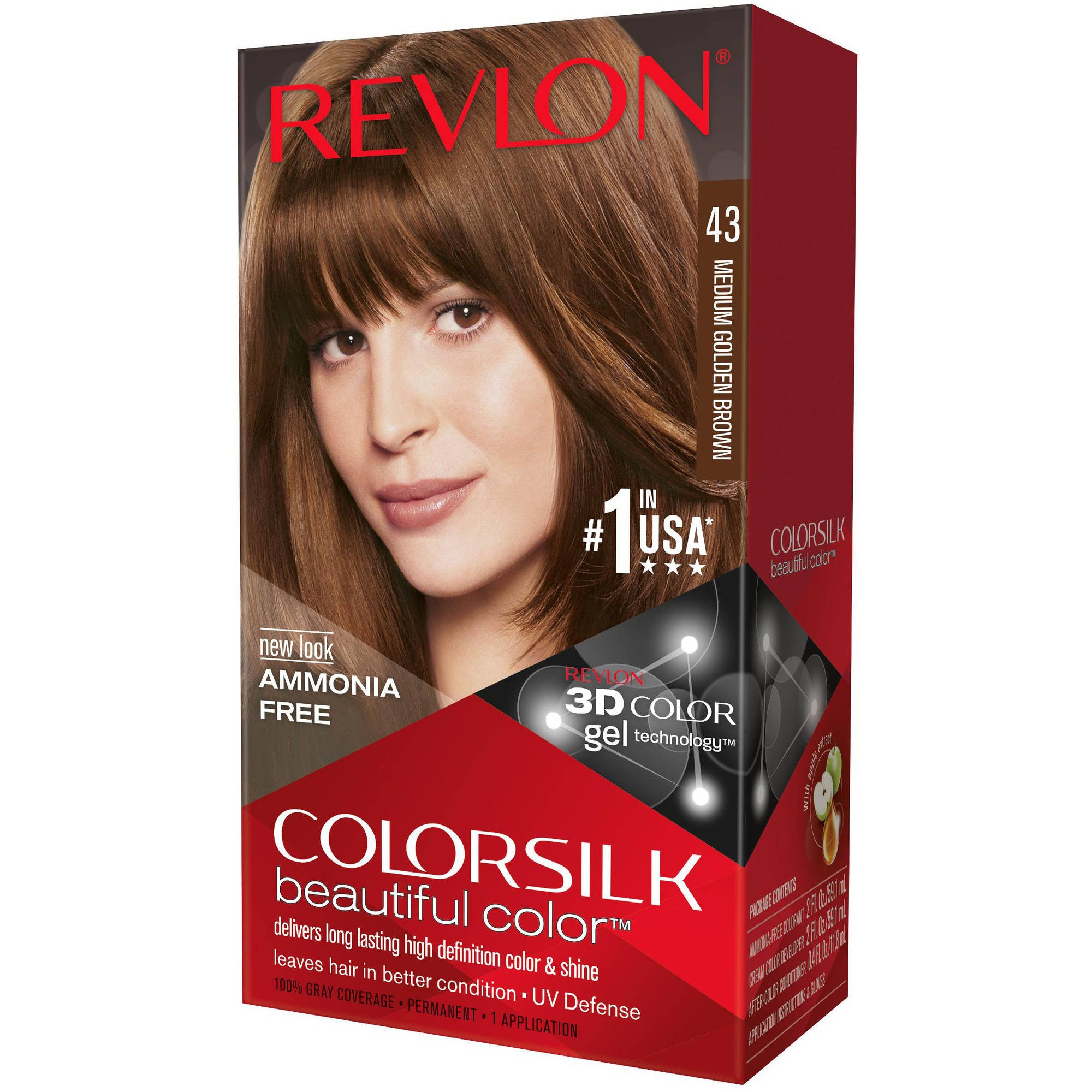 Revlon Colorsilk Beautiful Color Permanent Hair Color, 43 Medium Golden Brown