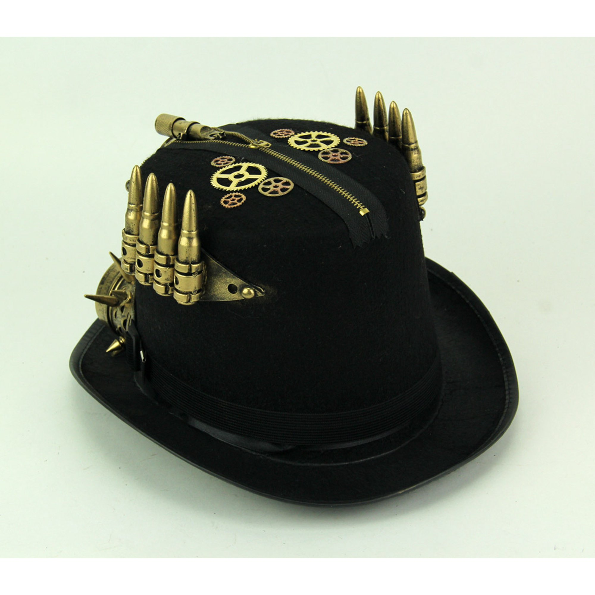 Voorkeur Black and Brass Steampunk Top Hat with Pressure Gauge and Goggles #LE02