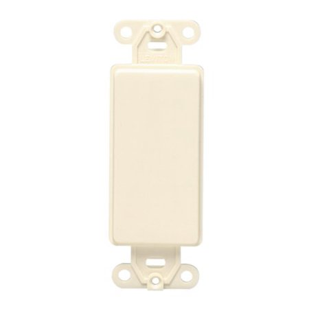 Leviton 80414-A Decora plastic adapter plate, Blank - No hole, with-ears, and two mounting screws. (Holes Almond)