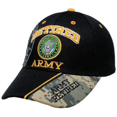 Retired Army Black w/ Seal Embroidered Baseball Cap Hat USA US Military, Black Main Color By US - Usa Embroidered Caps