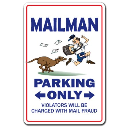 Mailman Decal | Indoor/Outdoor | Funny Home Décor for Garages, Living Rooms, Bedroom, Offices | SignMission Parking Mail Letter Carrier Postal Gift Usps Post Office Stamps Decal Wall Plaque Decoration
