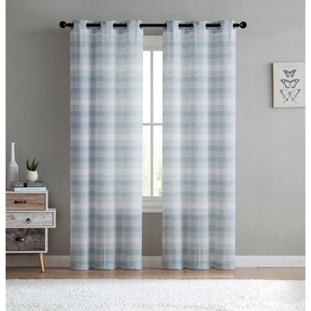 VCNY Home Stripe Sheer South Hampton Grommet Top Window Curtains, Set of 2, Multiple Sizes and Colors Available