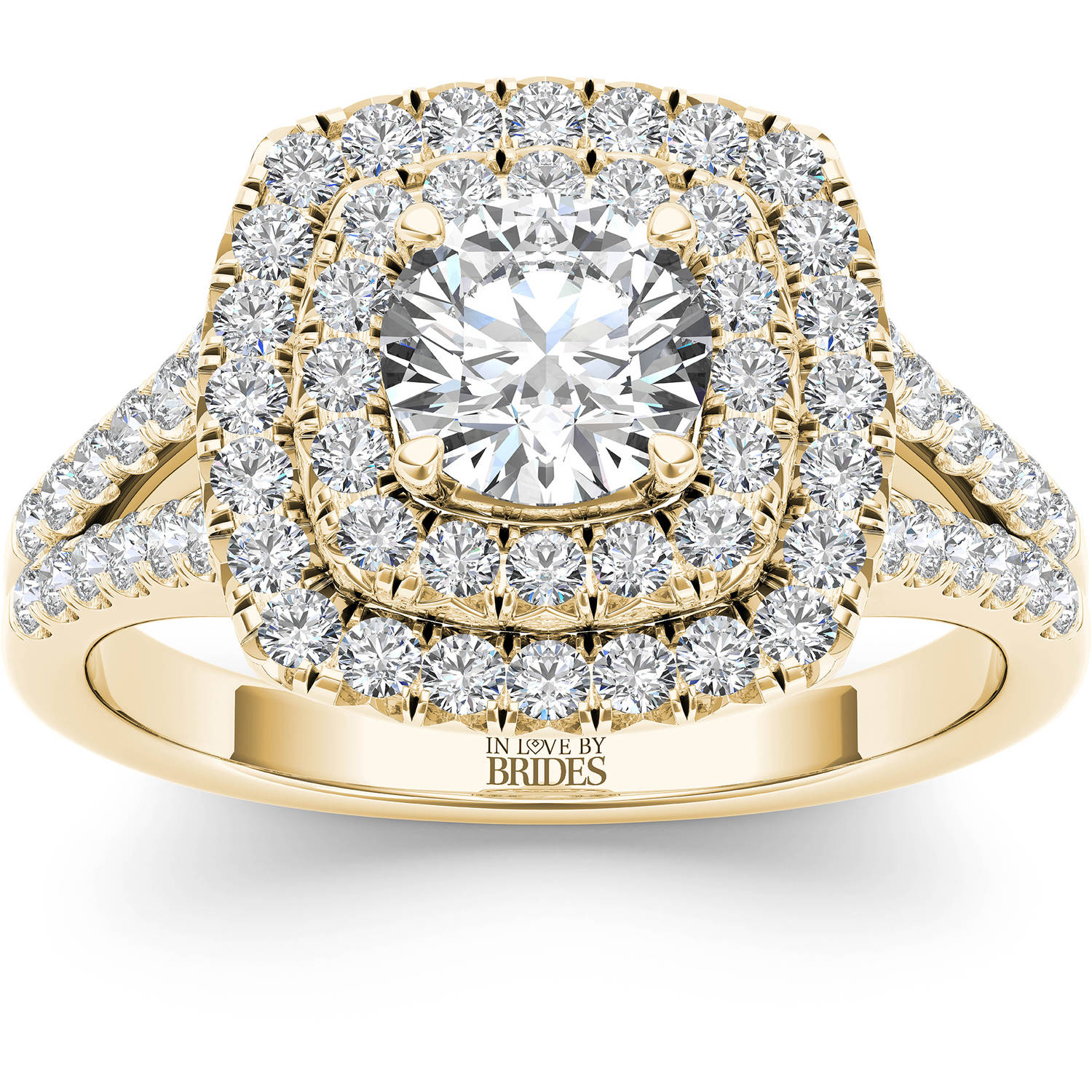IN LOVE BY BRIDES 1-1/2 Carat T.W. Certified Cushion Halo Diamond 14kt Yellow Gold Engagement Ring