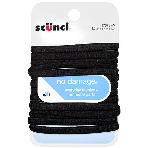 Scunci No Damage Hair Ties, Black, 14 count