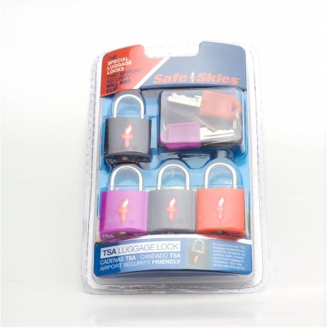 Safe Skies No.  211 TSA-Approved padlocks four-pack - Assorted