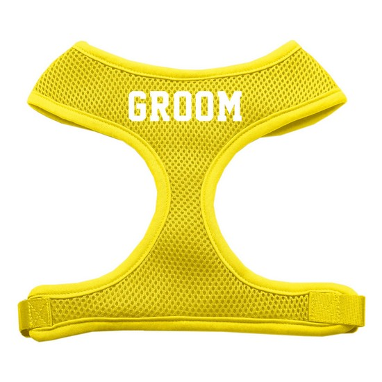 Groom Screen Print Soft Mesh Harness Yellow Large