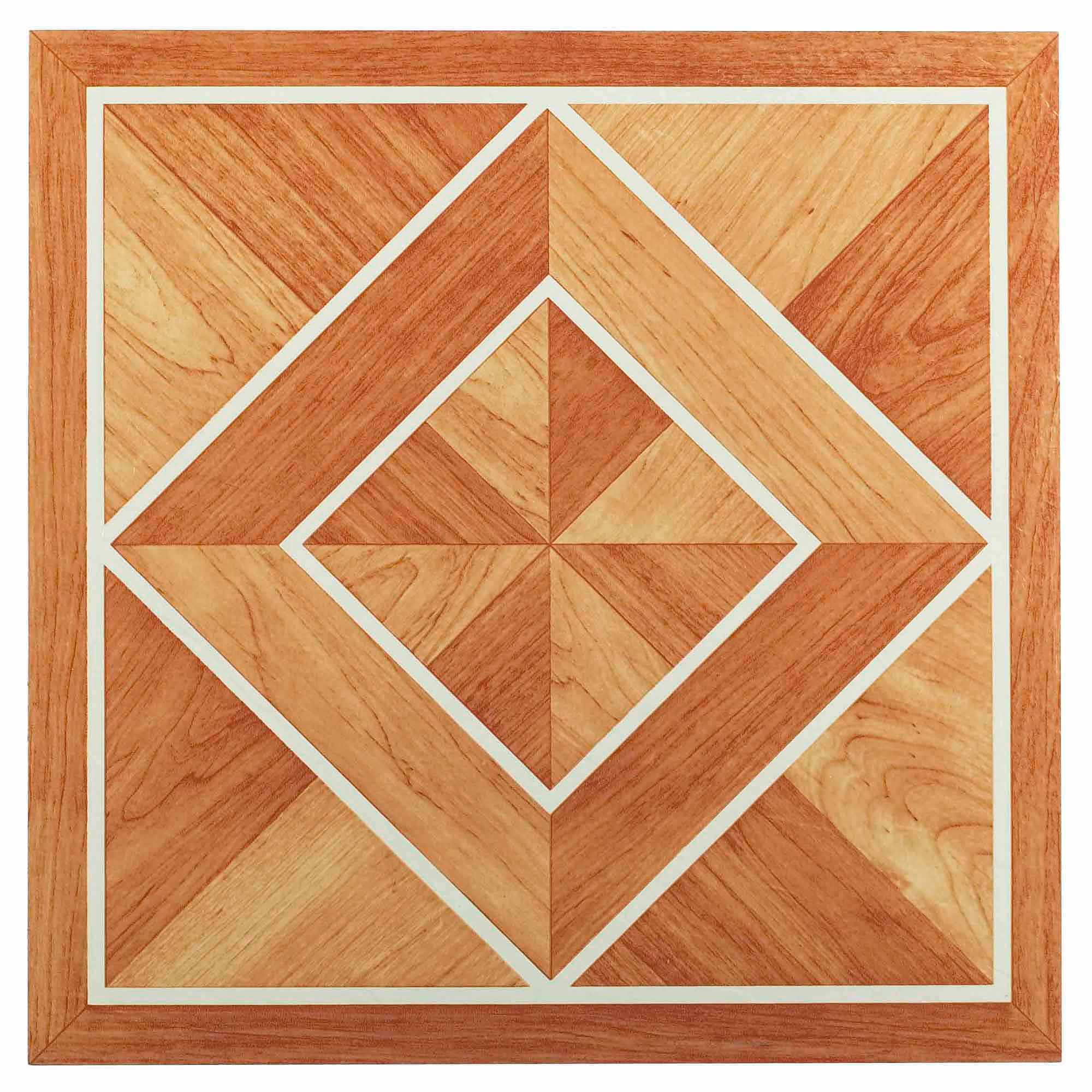 NEXUS White Border Classic Inlaid Parquet 12x12 Inch Self Adhesive Vinyl Floor Tile - 20 Tiles/20 Sq.Ft.
