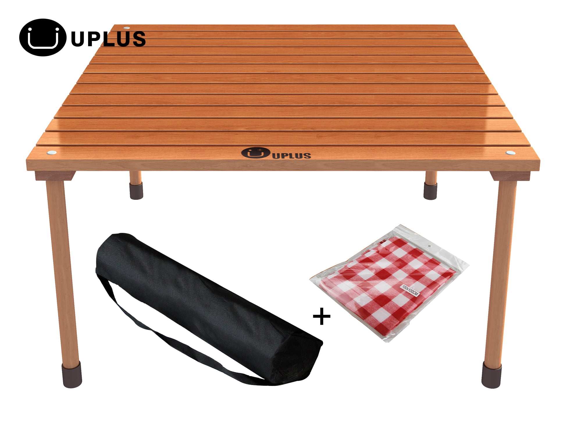 Etonnant Small Folding Table    UPLUS Outdoor Portable Folding Picnic Beach Teak  Wood Card Table With Free Table Cloth And Carrying Bag    Outdoor Portable  ...