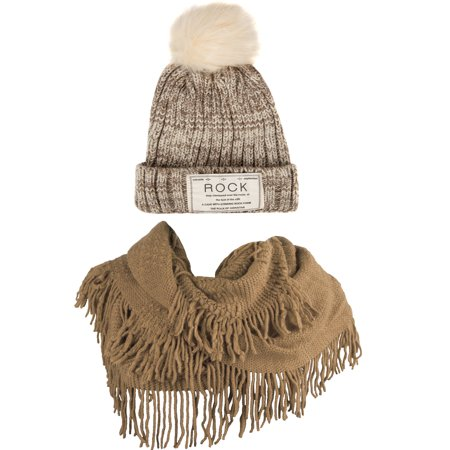 Women's Classic PomPom Warm And Cozy Knitted Beanie and Soft Plush Infinity Scarf Bundle