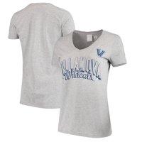 Women's Russell Athletic Gray Villanova Wildcats Arch V-Neck T-Shirt