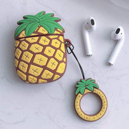 KABOER Pineapple Airpods Case AirPods Accessories Shockproof Protective Silicone Cover with Keychain Ring for Apple Airpods Charging Case Pineapple Airpods Case AirPods Accessories Shockproof Protective Silicone Cover with Keychain Ring for Apple Airpods Charging Case