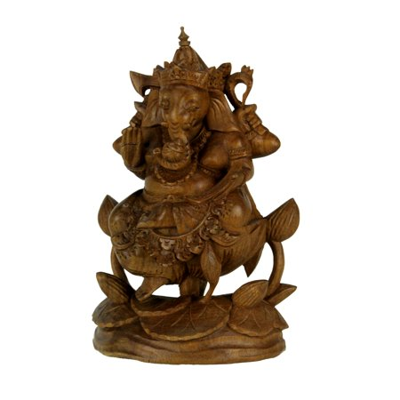 Hand Carved Wooden Ganesha Hindu God Statue