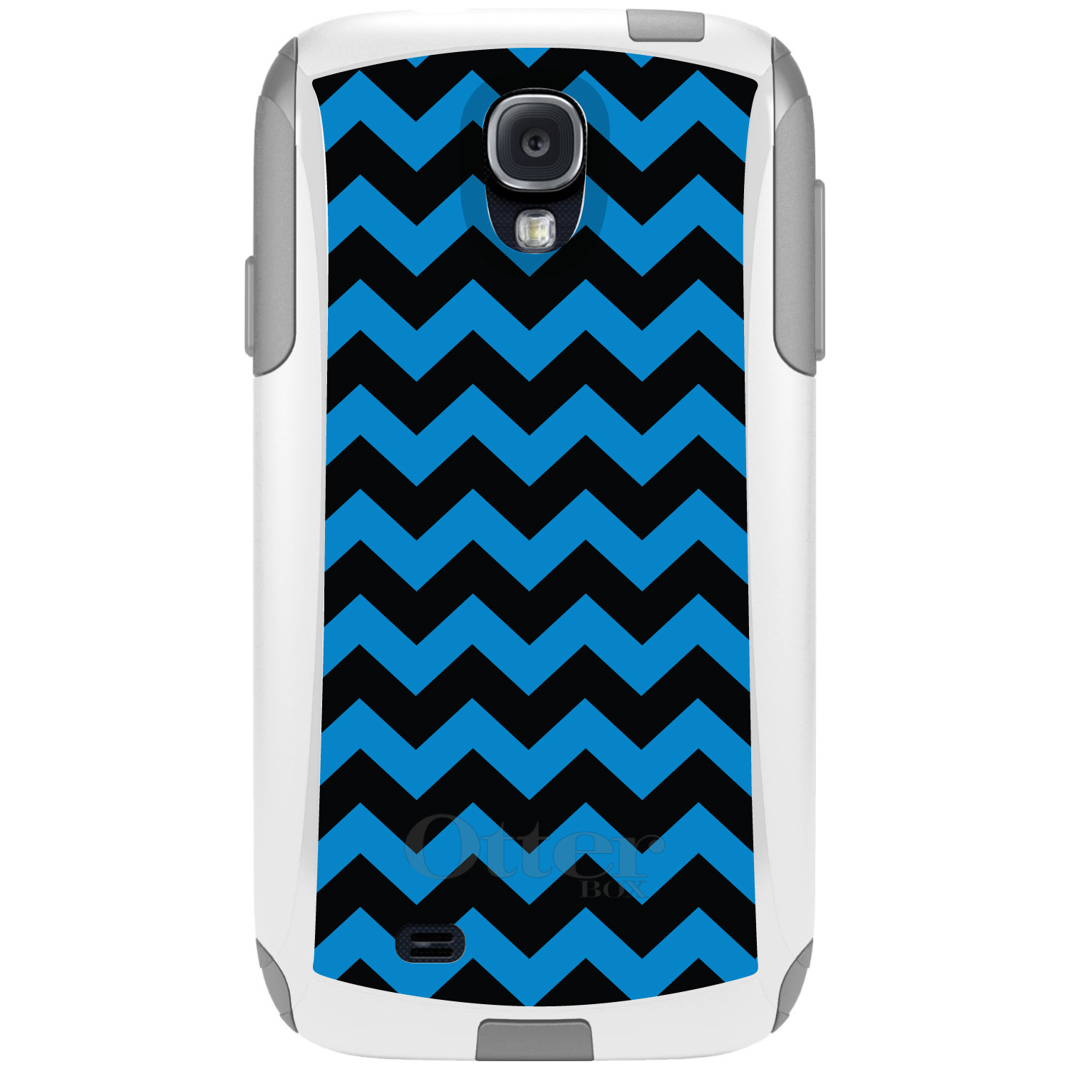 CUSTOM White OtterBox Commuter Series Case for Samsung Galaxy S4 - Black Blue Chevron Stripes