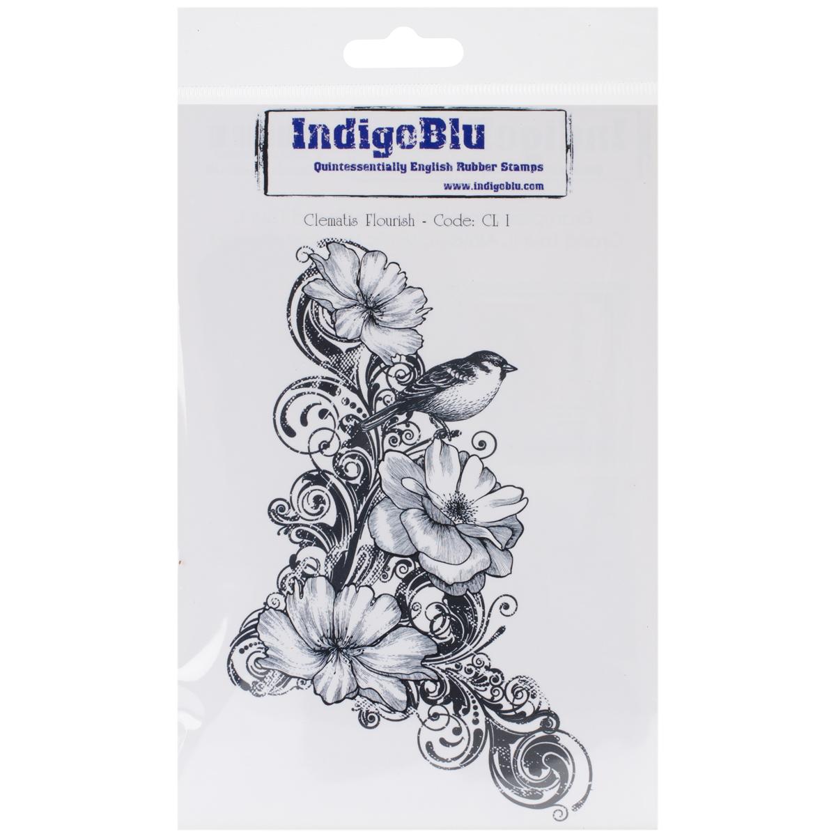 """IndigoBlu Cling Mounted Stamp 7""""X4.75""""-Clematis Flourish"""