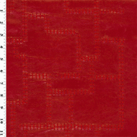 Embroidered Faux Leather - Red, Fabric By the Yard
