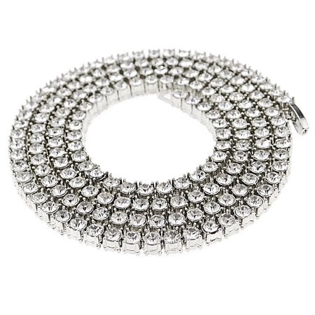 """One Row Tennis Chain CZ Iced-Out 1 Line Bling Round Cut Stones Silver Tone Hip Hop Necklace 30"""" Inch"""