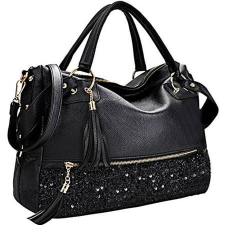 Coofit Handbag for Women Sequin Hobo Bag Punk Style Purse Faux ...