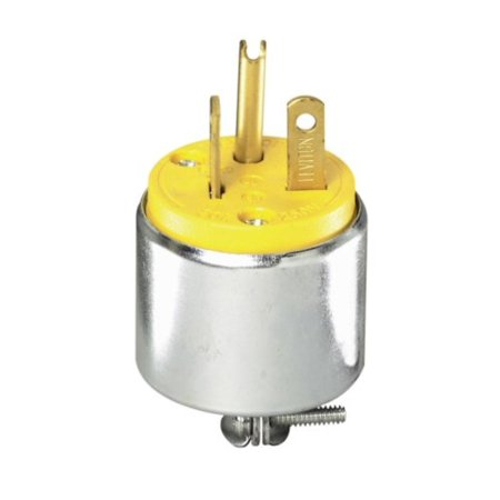 000-620PA YEL ARMORED PLUG Pack of 1 Steel/Yellow, Leviton 2-Pole Commercial Grade Armored Rubber Male Plug, Straight Blade, Yellow, 3 Wire, 250 Volts, 20 Amps By