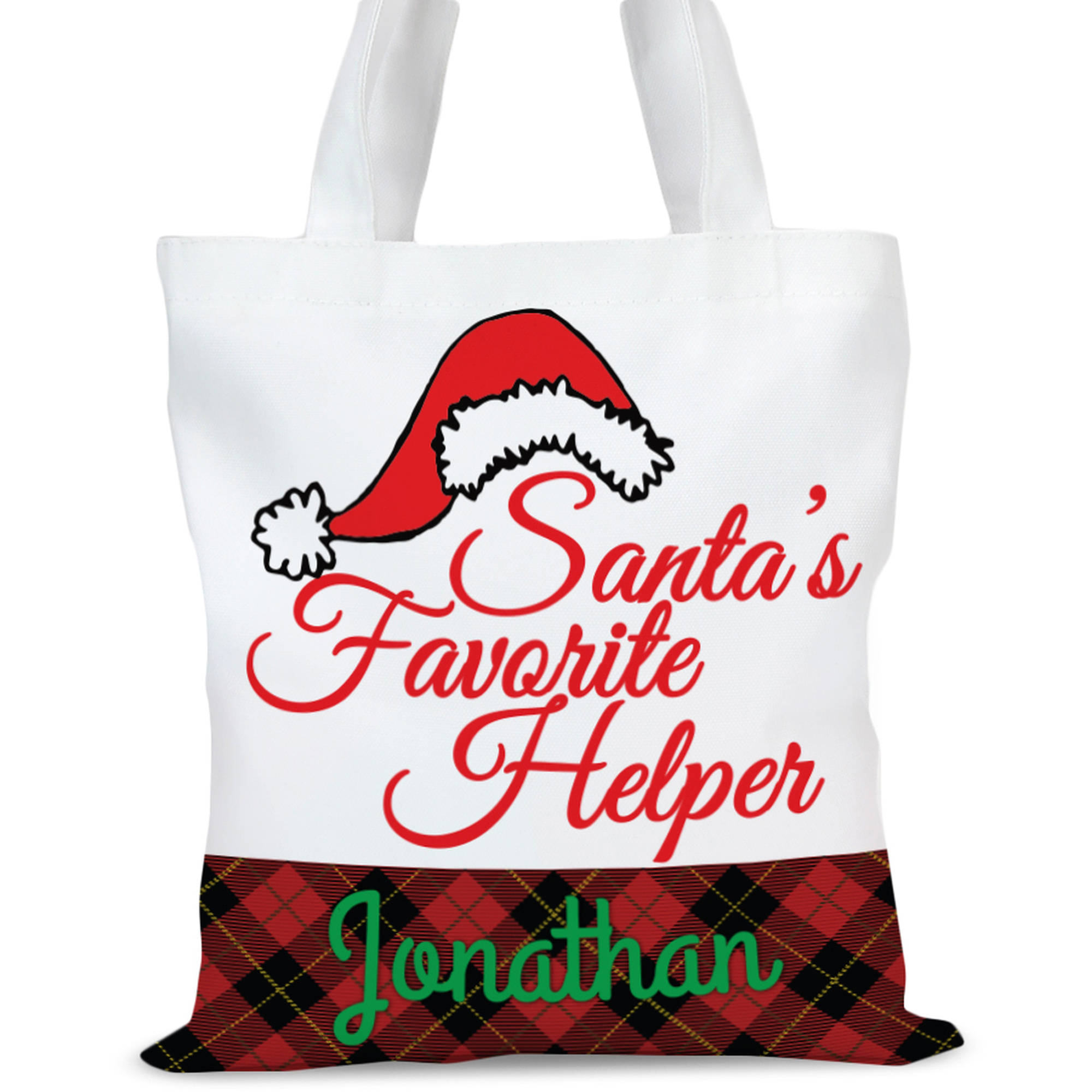 """Personalized Santas Helper Tote Bag, Sizes 11"""" x 11.75"""" and 15"""" x 16.25"""""""