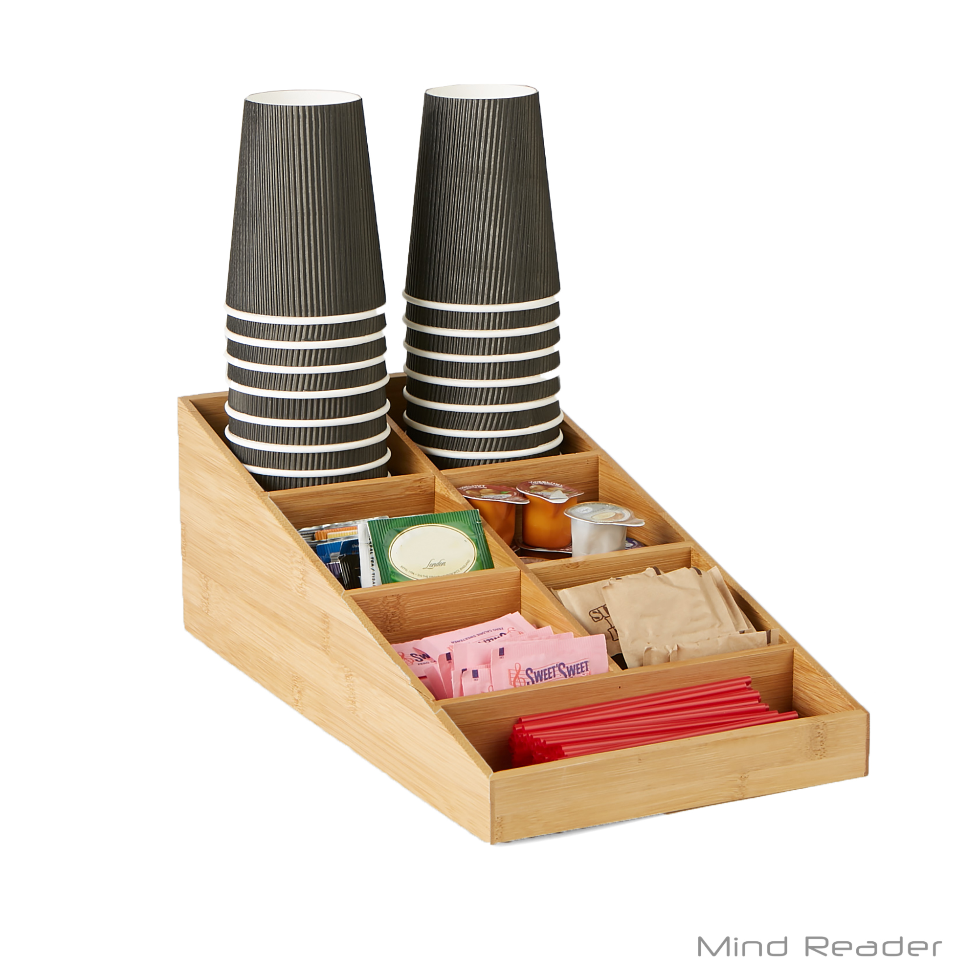 Mind Reader Bamboo 7 Compartment Tea and Coffee Condiment Organizer, Brown
