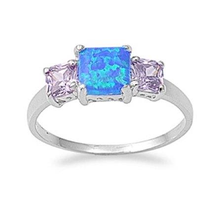 Three Princess Cut Simulated Amethyst Cubic Zirconia Blue Simulated Opal Ring Sterling Silver Size 10
