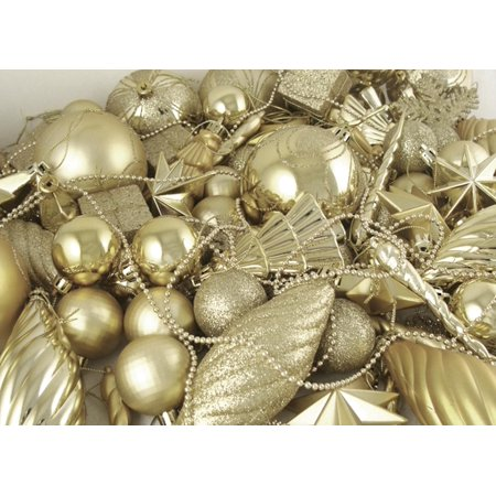 125-Piece Club Pack of Shatterproof Champagne Gold Christmas Ornaments - Walmart.com