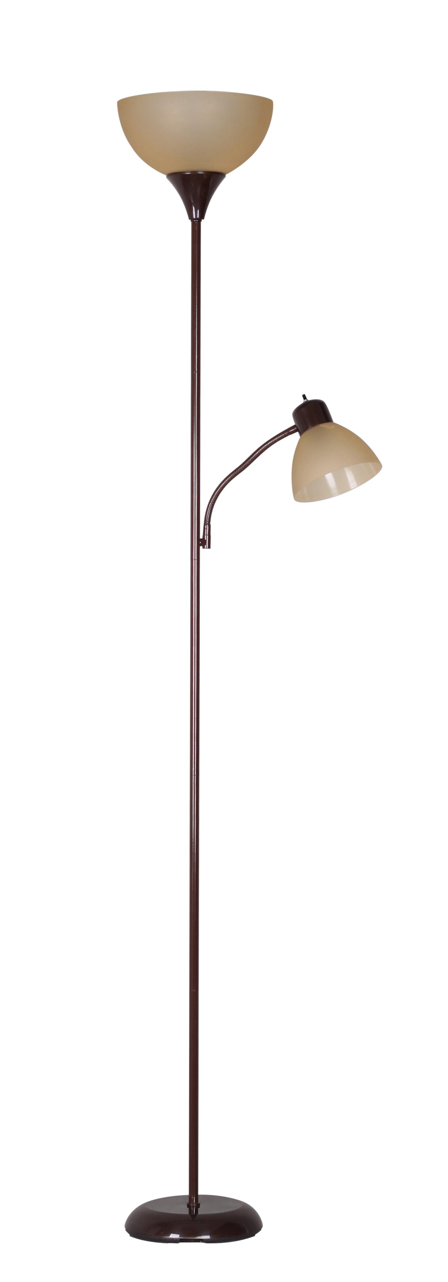Mainstays 72'' Combo Floor Lamp with Adjustable Reading Lamp, Brown - Walmart.com