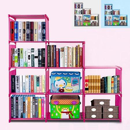 3 Shelf Bookcase Adjustable Kid Bookshelf Storage Organizer With 9 Book Shelves