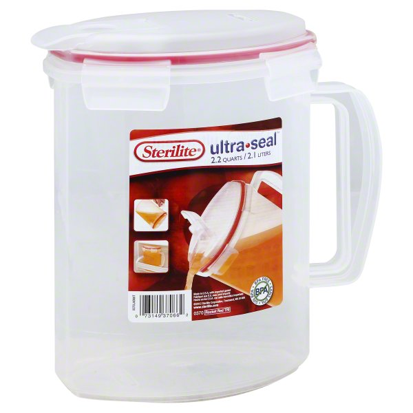 Sterilite Ultra-Seal 2.2 Quarts Rocket Red TRI Pitcher, 1 pitcher