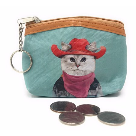 - Cute Dog Cat Portraits Zipper Coin Wallet Purse Insert Keychain Ring Pouch Bag