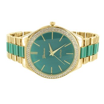 Green Dial Female Watch Gold Finish Parker 2 Tone Geneva Platinum MK Design Dark Two Tone Finish
