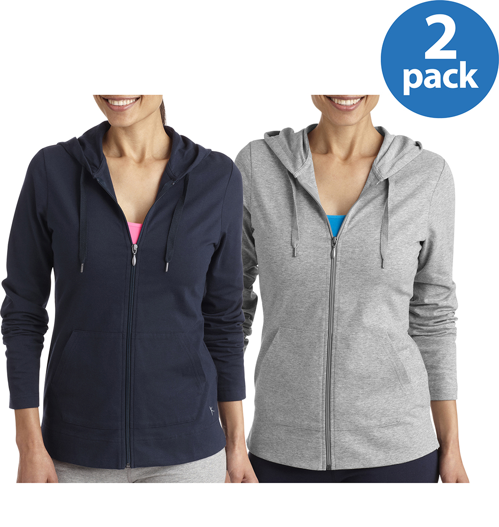 Danskin Now Women's Dri-More Core Full Zip Hoodie, 2 Pack Value Bundle