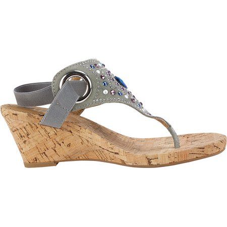 6368e5e6d229 Women s White Mountain Adeline Thong Sandal Dark Grey Fabric Cork 6 M -  image 1 ...